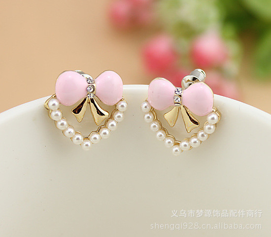 Colorful Butterfly Design Heart Shape Sud Earring Inlay Artificial Pearls Earring for Woman Lady F07695(China (Mainland))