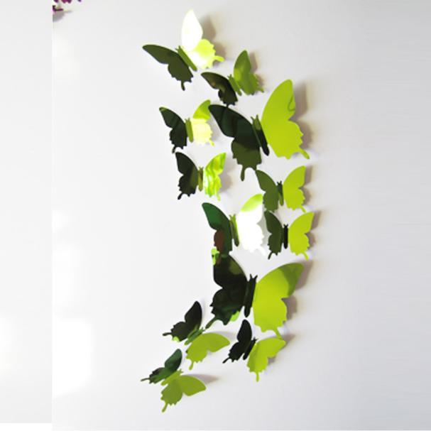 DIY Wall Stickers Decal Butterflies 3D Mirror Wall Art Home Decors Gold Modern Living Room Beautiful Wedding Decorations 2017