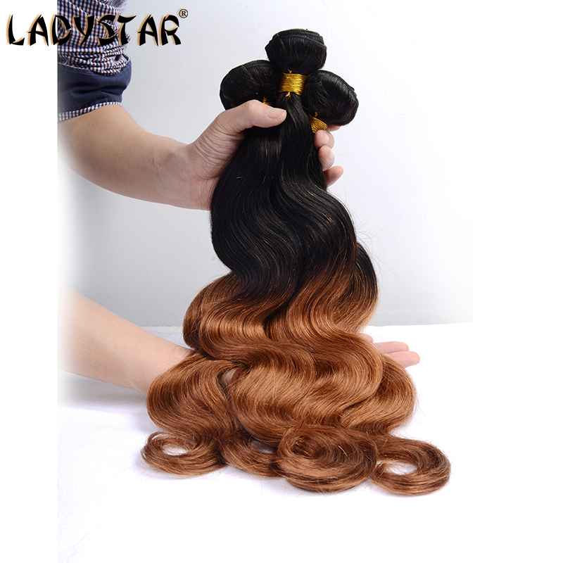 LADY STAR Ombre Peruvian Body Wave 3Pcs 6A Peruvian Virgin Human Hair Extension Two Tones Ombre Color Black & Chocolate Brown