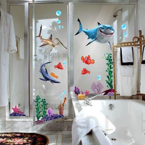 2016 new under seabed wall sticker shark fish 3d nemo
