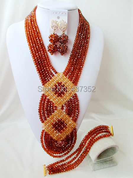 Fashion Brown Gold Champagne African Wedding Beads Jewelry Set Nigerian Beads Crystal Necklaces Bracelet Earrings CPS-2021