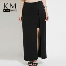 Kissmilk 2016 Plus Size Women 3XL 4XL 5XL 6XL High Waist Big Large Size Summer Split Slit Full Length Open Long Maxi Skirt