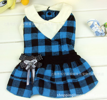 2016 newest Scotland style pet dress high quality cotton plaid dog skirt pet dog clothing 2 colors
