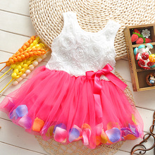 2016 New Summer baby girls dress for 0 1 2 3 Years old  beautiful super fairy flowers Cotton sleeveless kids dresses A232(China (Mainland))