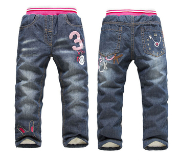 2015 New Children's Jeans Cartoon Boys Girls Pants Kids Cashmere Pants Winter Child Jeans for 2-7 years
