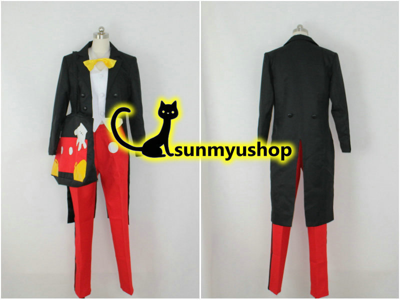 Free shipping! Dream story mickey clothes Cosplay Costume  Hallowmas black swallow-tailed coat red trousers with bagОдежда и ак�е��уары<br><br><br>Aliexpress