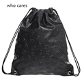 Leather Backpack Black Skull Women Travel Drawstring Bag Bolsos Mujer Mochila Feminina Shoulder Man Casual Bags