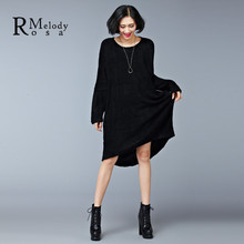 2016 Women's Sweater Dress Winter Autumn Terry Keep Warm Short in Front Long in Back Knee Length Casual Dresses(R.Melody DS0165)(China (Mainland))
