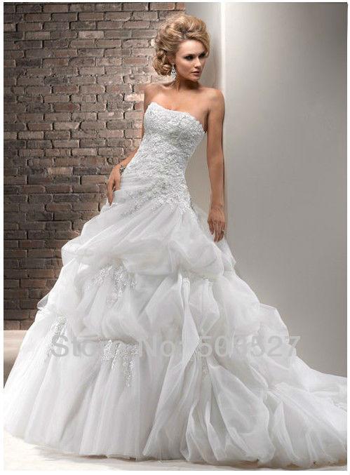Vestidos Novia novia-принцеса 2016 на заказ белый органзы аппликации бисероплетение кристалл оборками-line свадебное платье свадебные платья