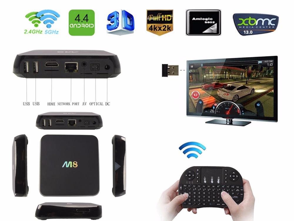 M8 Amlogic S802 Quad Core Android TV Box 2GB RAM 8GB XBMC Kodi fully loaded Full HD Media Player 4K Movies + RII I8 keyboard(China (Mainland))