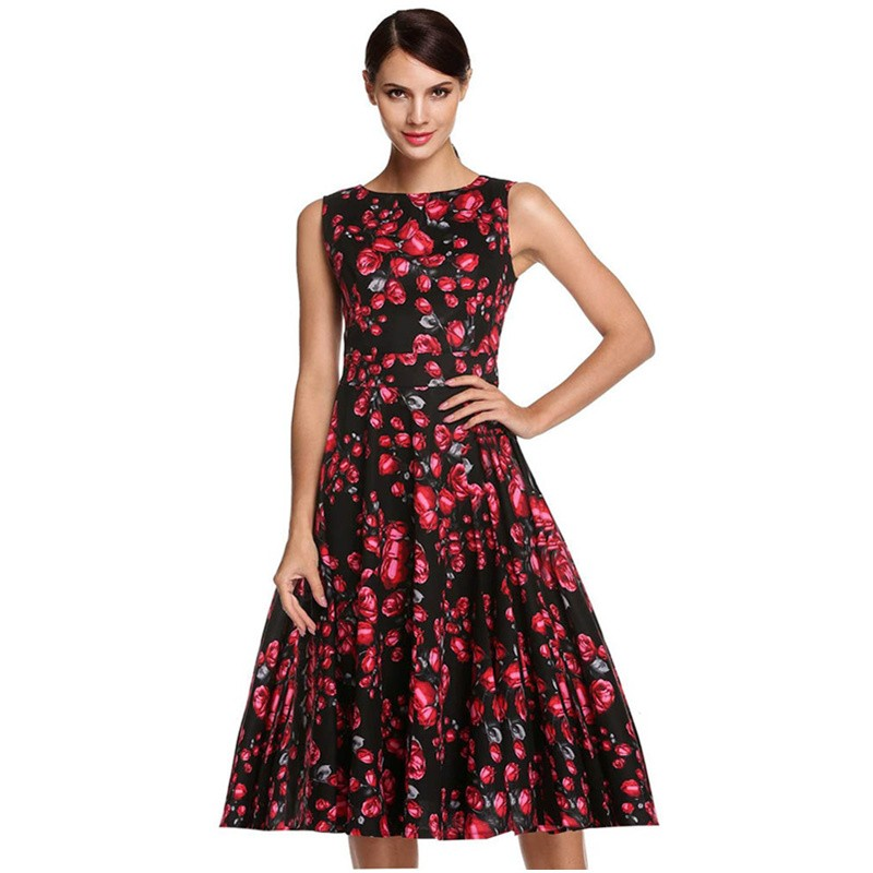 Dinner Time Vintage and Charming Black and Red Sleeveless Ladies Hot Printing Flower Casual Midi Dress L3611 (4)