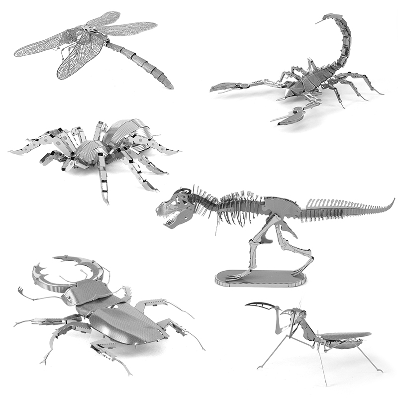 3D Metal Puzzles for children Adults Model Toys Jigsaw Metal Insect Spider Scorpion Mantis Dragonfly puzzles educational toys(China (Mainland))