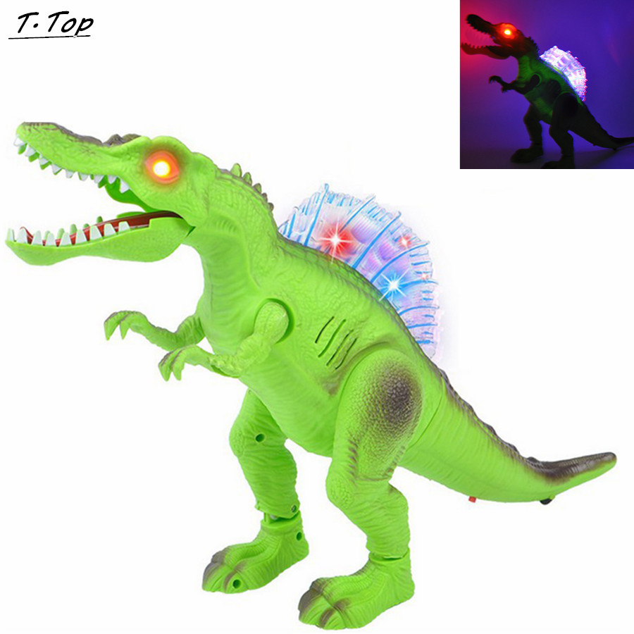 Cute Cartoon Animal Walking Night Light Move Electric Dinosaur Educational Model Toy for Children Kid