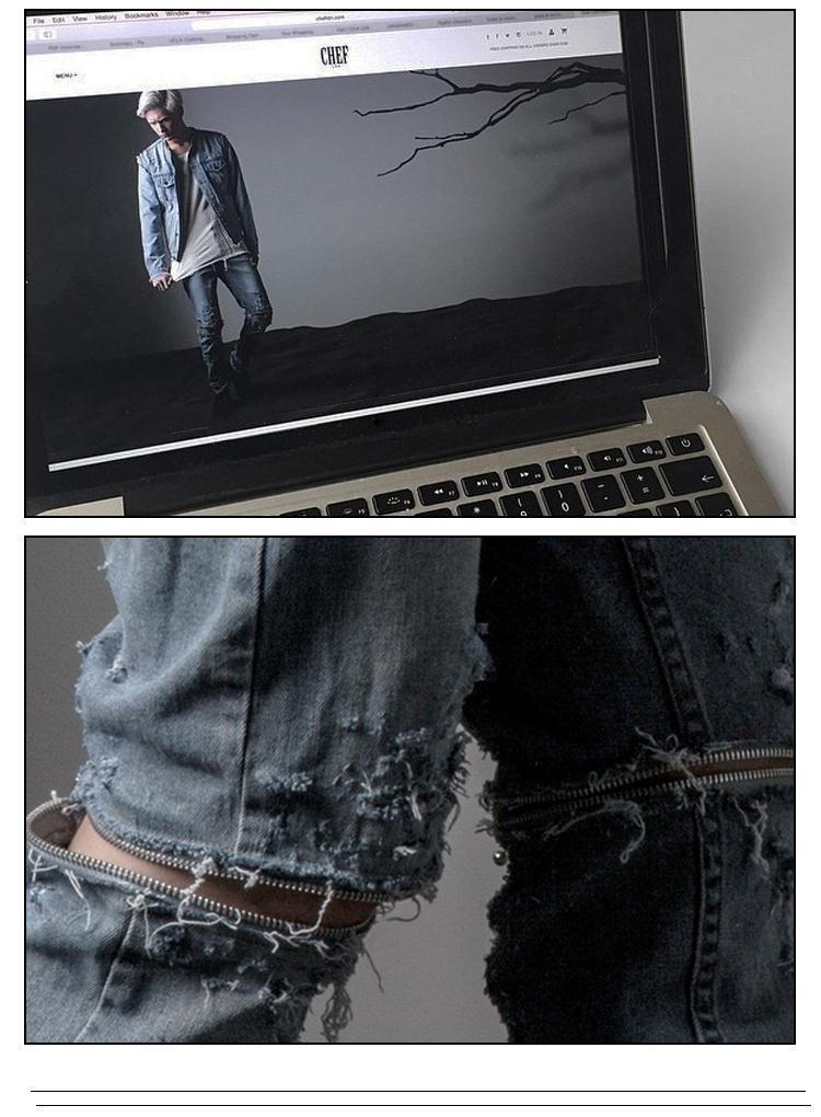 Скидки на 2016 Последним рваные джинсы Мужчины Марка Skinny Jeans Впп Уничтожено Denim Байкер джинсы Хип-Хоп Брюки Промывают Джинсы
