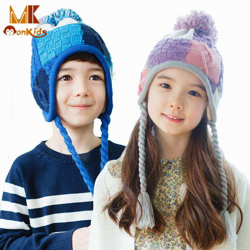 Monkids 2016 Unisex Kids Bomber Hats Super Warm Snow Hats with Earflap Patchwork Crafts Cotton Knitted Winter Windproof Thicken(China (Mainland))