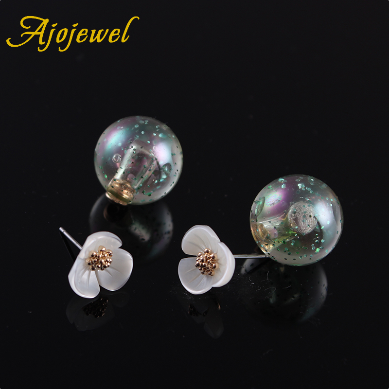 Ajojewel Women's White Shell Flower Colored Ball Earrings Gold Double Sided Stud Earrings(China (Mainland))