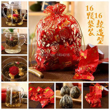 16 Pcs Promotion! Blooming Flower Tea Chinese Ball Jasmine Green Tea Natural Herbal Tea  Bloomnig Tea Ball Flowering Tea Balls