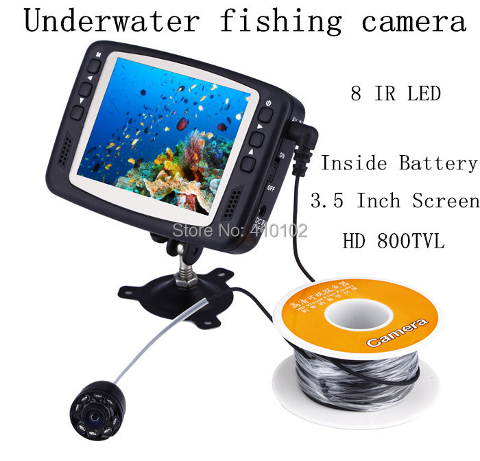 Underwater Fishing Camera 8 IR LEDs 15m Cable length Inspection CCTV Camera with 3.5 inch Color Monitor fish finder night vision(China (Mainland))