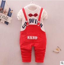 Buy hot selling baby suit summer spring clothes jumpsuit boys T-shirt tee cotton trousers. sling letter clothes break child cl for $15.17 in AliExpress store
