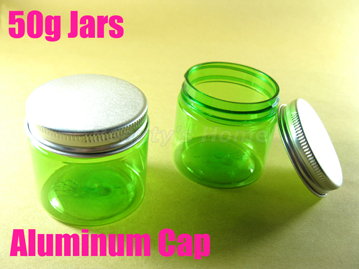 50g Aluminum Cap green jars cosmetic cream make jar refillable bottle Empty Bottle #1954 - Packing Supplier(Bottles and Jars store)