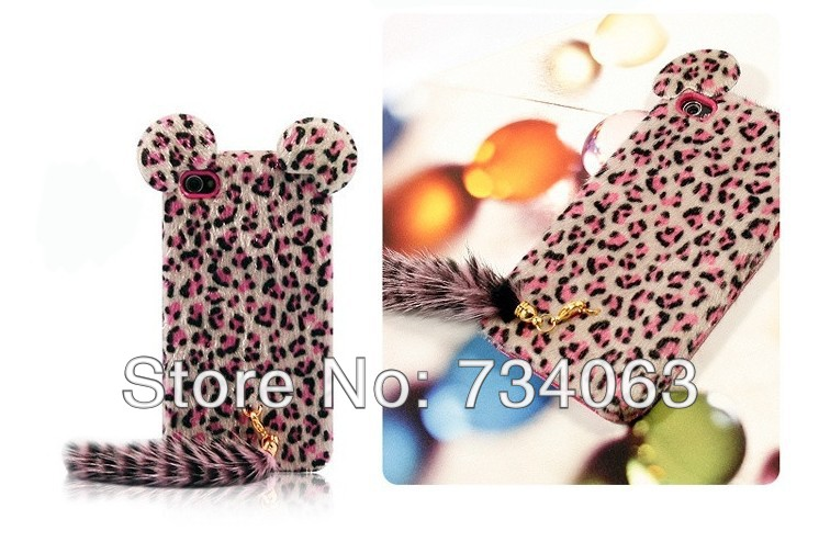 HOT Promotion 3D Plush Cat Tiger Tail Luxury Animal Leopard TPU Hard Case Cover Skin for iPhone 4 4s by HK Post MOQ:20 (PG5TE)(China (Mainland))