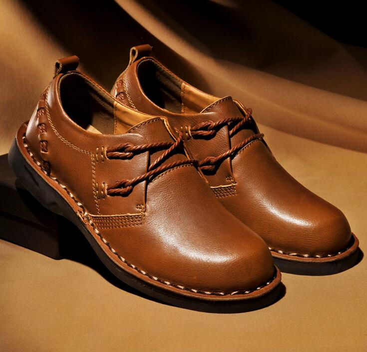 Age season leather leisure business leather shoes With comfortable head layer cowhide single shoes Men's leather shoes by hand