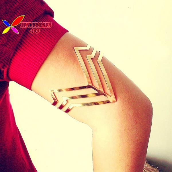 2015 fashion punk rock designer gold silver cutout V shape adjustable women arm cuff bangle & bracelet couro pulseiras de couro(China (Mainland))