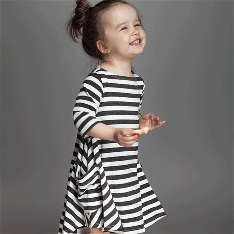 Casual Long Sleeve Girls Striped Dress 2015 New Autumn