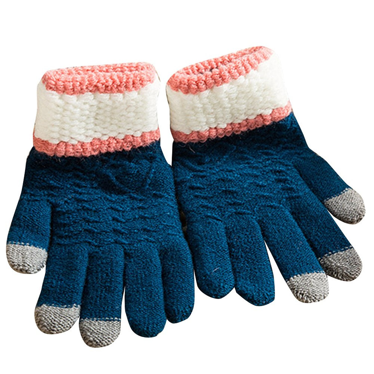 New Arrival Woman Girls Winter Wool Warm Touch Screen Glove Mitten Royal Blue free shipping(China (Mainland))