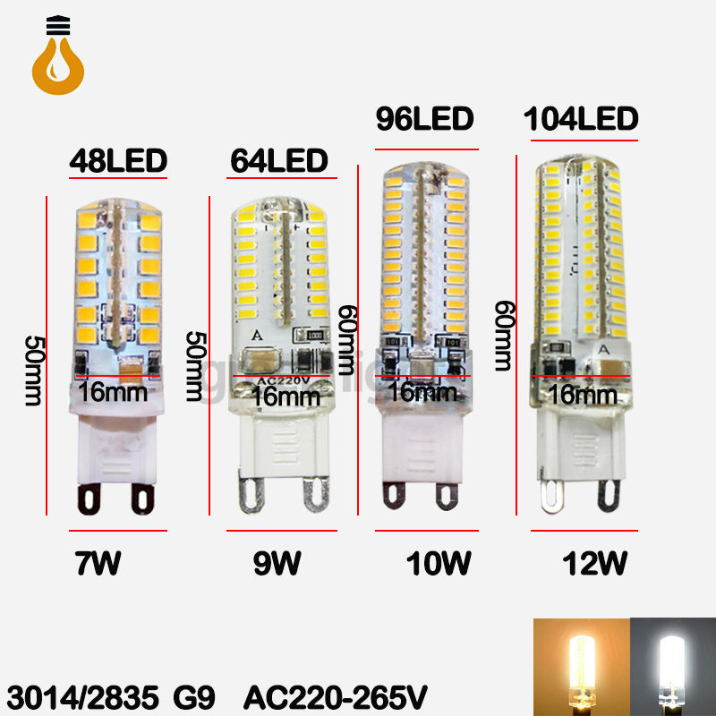2015 new LED Bulb SMD 2835 3014 LED G4 G9 LED lamp 7W 9W 10W 12W Corn Light AC220V 360 Degree Replace Halogen Lamp free shipping(China (Mainland))
