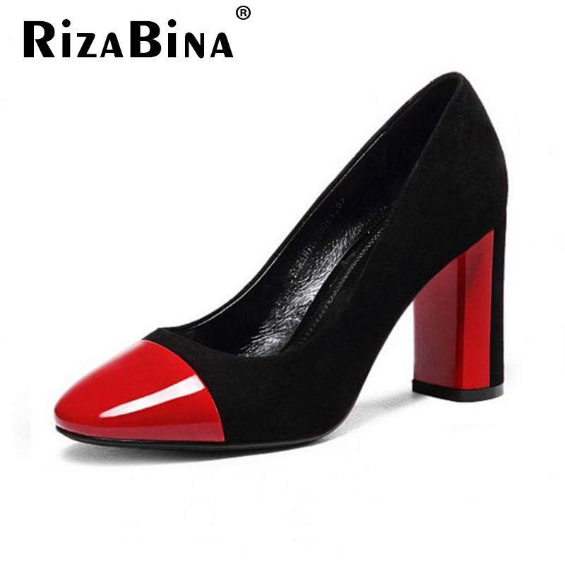 women real genuine leather round toe square high heels shoes brand sexy heels pumps heeled footwear shoes size 34-39 R08531<br><br>Aliexpress