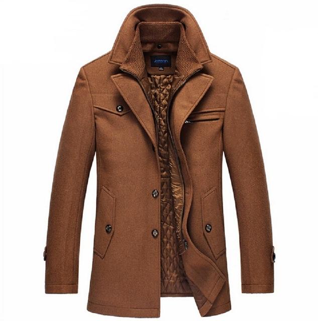 Новое зимнее шерстяное пальто тонкой куртки мода верхняя одежда теплый человек свободного ...
