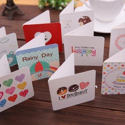 Fashion Mini Custom Children Gift Card Paper Folding Birthday Card Color Printing 300gsm White Card 10pcs/Lot Free Shipping(China (Mainland))