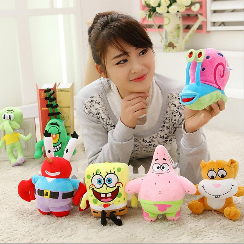 Promotion ! 7pcs/set Cute SpongeBob Plush Toys , High Quality Patrick Star Plush Toys &amp; Anna and Elsa Princess Stuffed Doll<br><br>Aliexpress