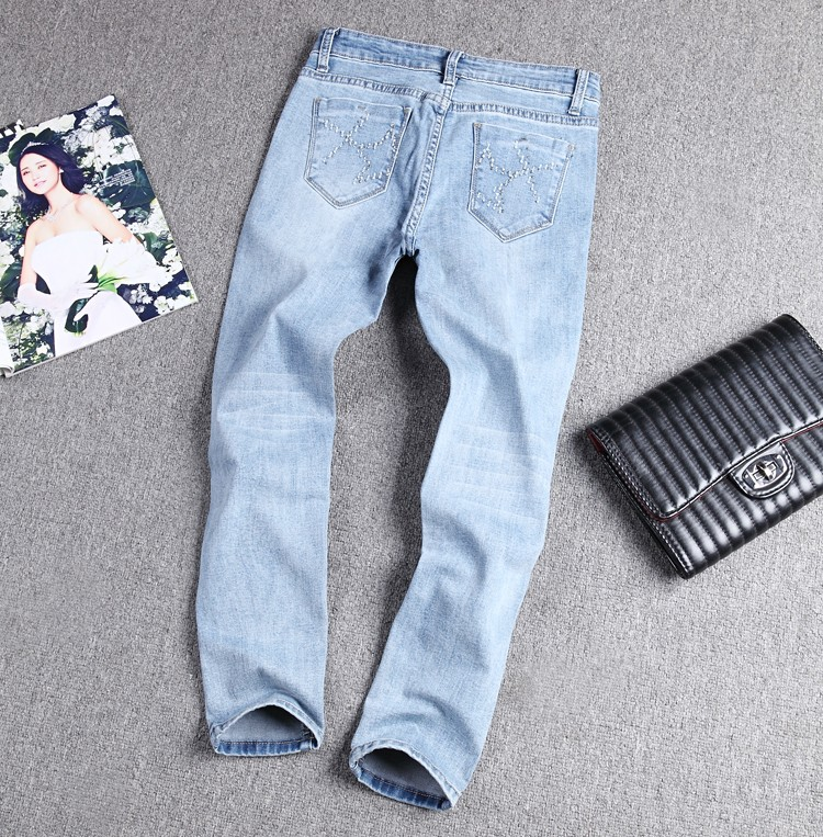Скидки на 2016 новые джинсы бисероплетение изношенные женские ноги девять очков тонкий весна и лето носить брюки карандаш мода стрейч брюки