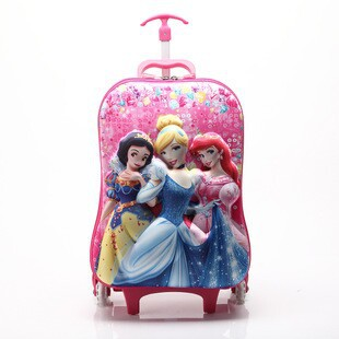 New 3D cartoon three princess pull rod bags girls Trolley School Bags Travel Luggage Suitcase On Wheels Kids Rolling Bags(China (Mainland))