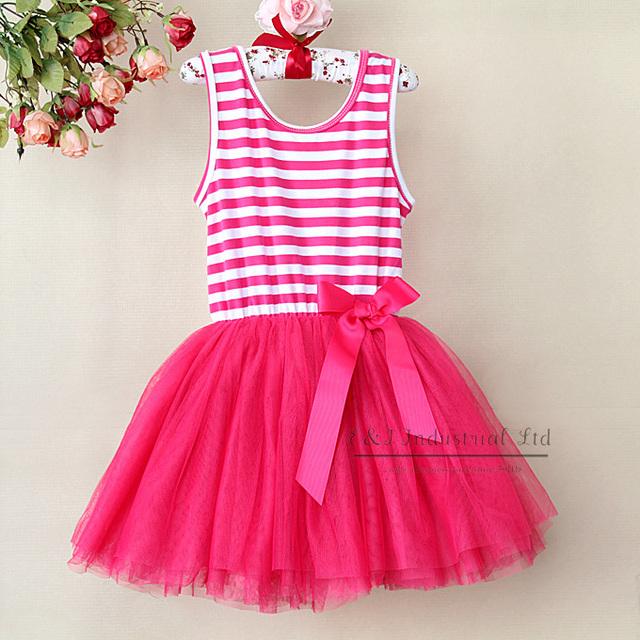 2016 Beautiful Girl Dress Red Stripe Infant Princess 6Layers Chiffon And 1 Cotton Lining Kids Dress Children Clothing