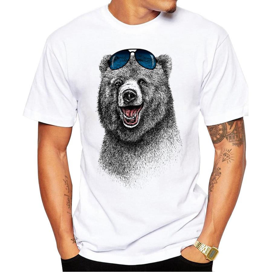 2016 Cheapest Fashion Laughing Bear Men T-shirt Short sleeve men The Happiest Bear Retro Printed T Shirts Casual Funny Tops(China (Mainland))