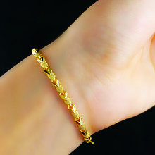 New Arrival Fashion 18K GP Gold Plated fine Jewelry Bracelet Yellow Gold Golden Bracelet heart Bangle 24K Gold jewelry YC018(China (Mainland))