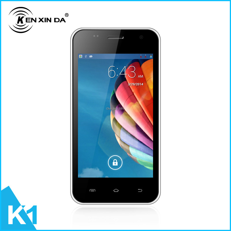2015 good quality low price slim Android Mobile Phone MTK6572 512MB+4GB 5.0MP K1 4.0inch smartphone with elegant box/flip case(China (Mainland))