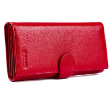 FancyStyle Luxury Womens Wallet Trifold RFID Leather Checkbook Credit Card Holder Purse Pebbled Genuine Leather Red  Gift Box