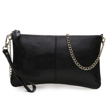 Top 100% Genuine Leather Chain  Women's Clutch Bags Real Cowhide Purse Organizer Shoulder Bag Cross-body Evening Party Handbags(China (Mainland))
