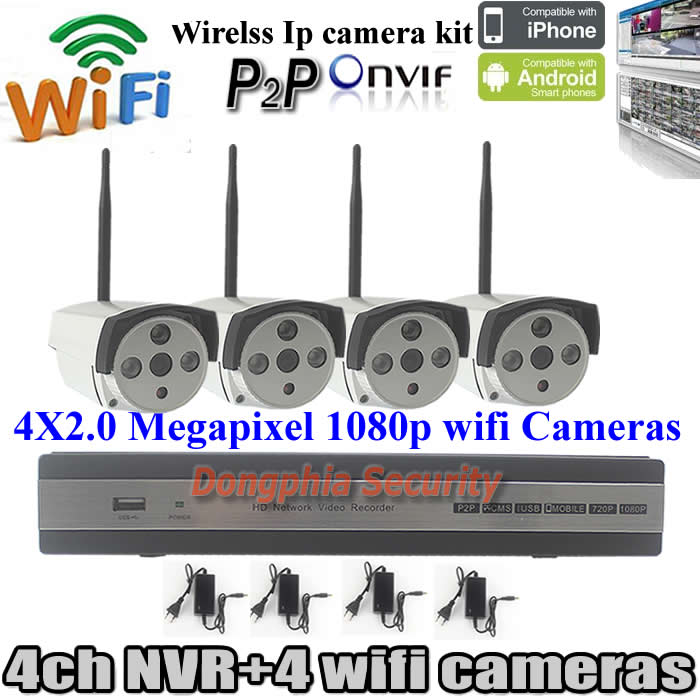 Security &amp; Protection cctv 4ch nvr kit in Stock 2.0mp onvif p2p waterproof HD 1080p wifi ip camera with 4ch IP Camera recorder<br><br>Aliexpress