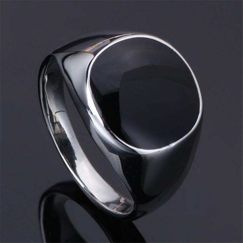 Never Fade 2016 Men Jewelry Vintage Rings Silver Filled Vogue Black Enamel Size 7-12 Wedding Rings For Men Anillos sa724(China (Mainland))