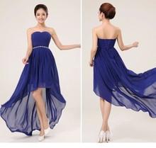 2015 Custom todo el Color y tamaño trasero largo delantero corto púrpura del azul real vestido de dama barato dama de under 50(China (Mainland))