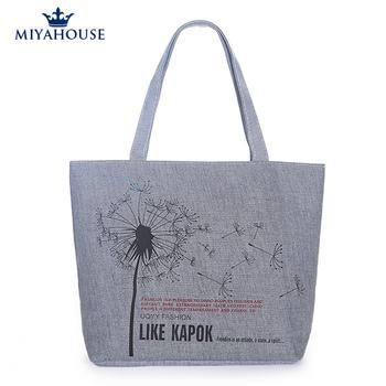 Женщины холст сумочка одного плеча сумочку одуванчик холст пляжная сумка тканые сумки на ремне сумки холстины женщин печатные сумки