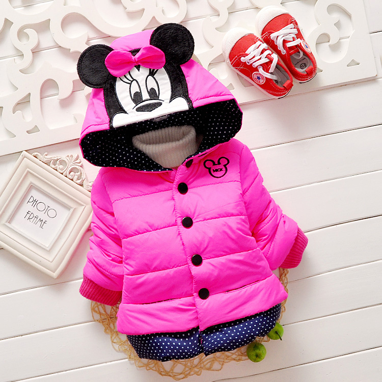 2015 Winter Baby Girls Boys Parkas Childrens Outerwear Hoodies Warm Hooded Cartoons Coat Outerwear(China (Mainland))