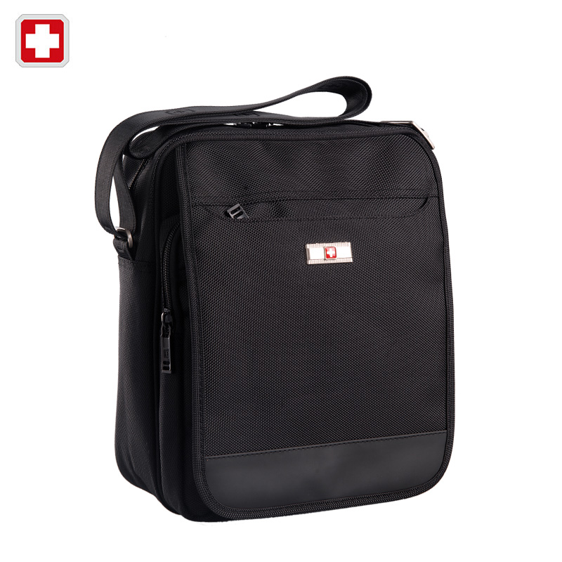 Swiss Army Knife Men's Business Casual Shoulder Bag Male Small Crossbody Messenger Bag Black SW9006(China (Mainland))