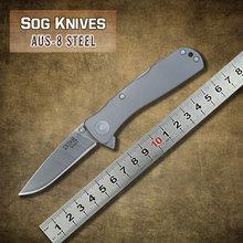 Envío de la nueva llegada SOG marca hoja de acero AUS-8 electrochapa 6061-T6 aluminio de aleación de mango cuchillo plegable táctico sharper