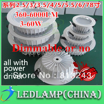 free shipping led downlight all with power driver 3W 5W 7W 9W 12W  30W 40W-60w  led downlight,discount chandelier,ceiling